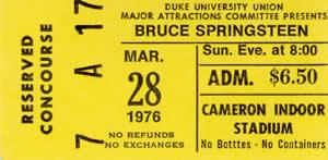 Springsteen Duke ticket 03-28-76